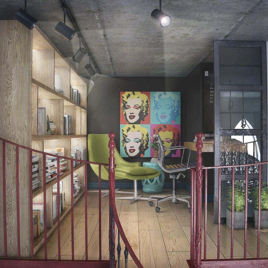 Фотография: Кабинет в стиле Лофт, Квартира, Проект недели, Москва, ToTaste Studio, Монолитный дом, 4 и больше, 60-90 метров, ЖК «Соколиный форт» – фото на INMYROOM
