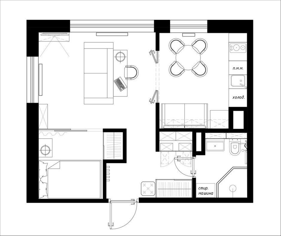 Фотография: Планировки в стиле , Квартира, Перепланировка, Никита Зуб, 1 комната, до 40 метров, Монолитно-кирпичный, планировочная среда, ЖК Mistola Hills – фото на INMYROOM