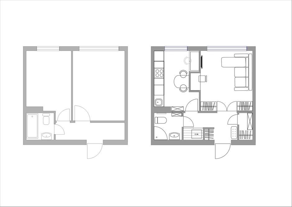 Фотография: Планировки в стиле , Кухня и столовая, Спальня, Белый, Проект недели, Розовый, 1 комната, до 40 метров, ПРЕМИЯ INMYROOM – фото на INMYROOM