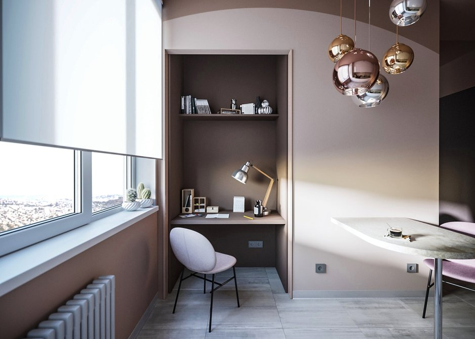 Фотография: Кабинет в стиле Современный, Кухня и столовая, Спальня, Белый, Проект недели, Розовый, 1 комната, до 40 метров, ПРЕМИЯ INMYROOM – фото на INMYROOM