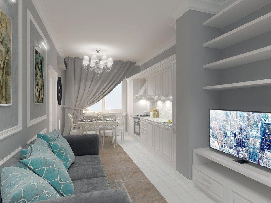 Фотография: Гостиная в стиле Классический, Квартира, Проект недели, Москва, кухня-гостиная, новостройка, Елизавета Корешкова, Beau Interiors, гостиная в прихожей, Монолитный дом, 2 комнаты, 40-60 метров – фото на INMYROOM