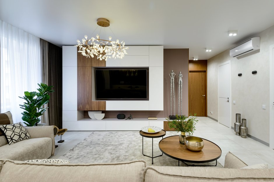 Фотография: Гостиная в стиле Современный, Квартира, Проект недели, Монолитный дом, 3 комнаты, Более 90 метров, Полина Степанова, D'POLLY – фото на INMYROOM