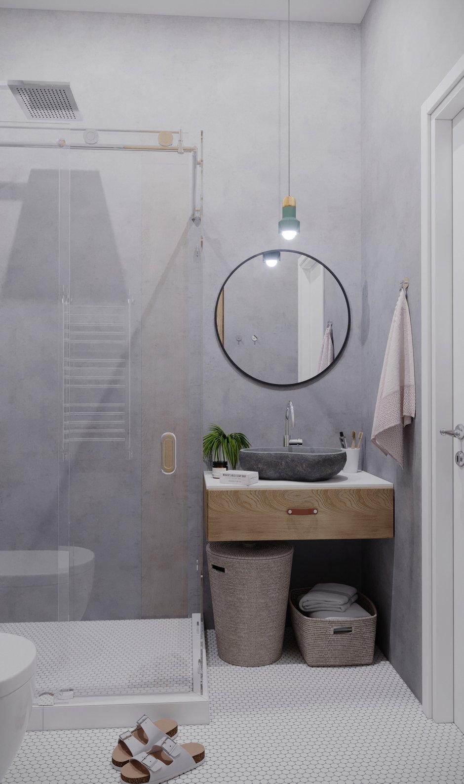 Фотография: Ванная в стиле Минимализм, Квартира, Проект недели, Санкт-Петербург, 1 комната, 40-60 метров, Монолитно-кирпичный, Студия 20:18 – фото на INMYROOM