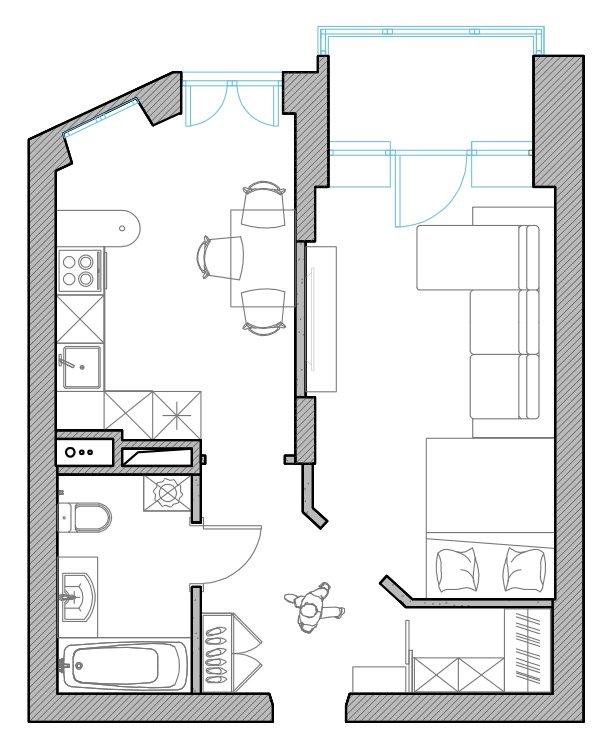Первоначальный план с расстановкой мебели