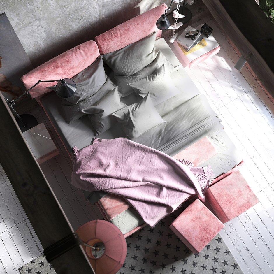 Фотография:  в стиле , Спальня, Лофт, Проект недели, Розовый, Дмитрий Болдырев, LOGOVO – фото на INMYROOM