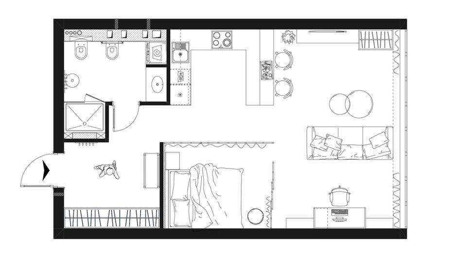 Фотография: Планировки в стиле , Современный, Квартира, Студия, Проект недели, Москва, 1 комната, 40-60 метров, Оксана Дьяпич – фото на INMYROOM
