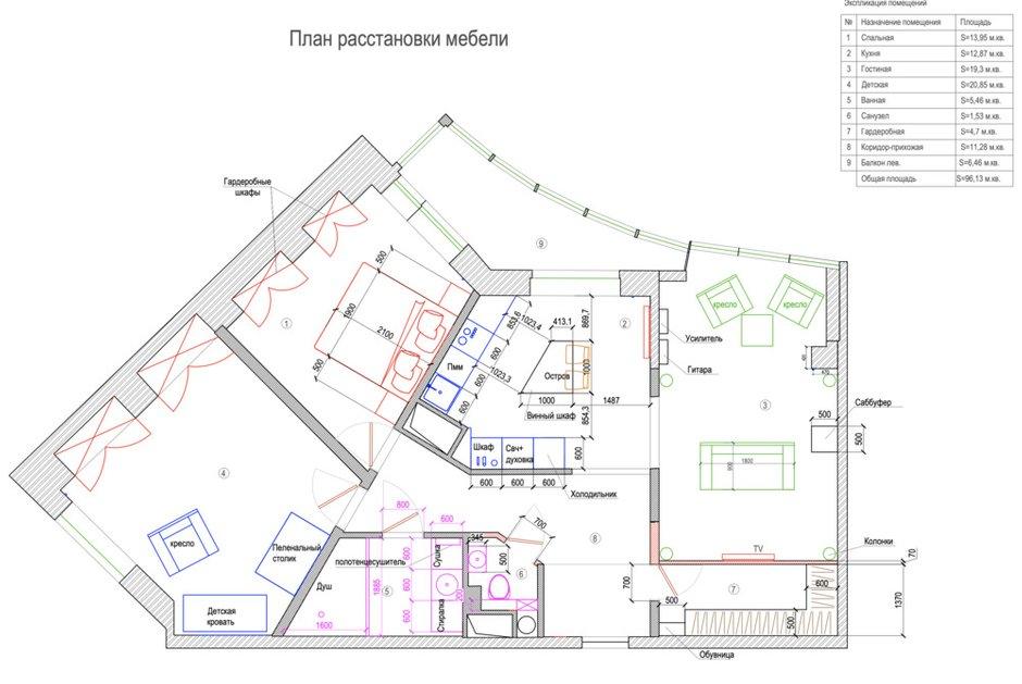 Фотография: Планировки в стиле , Современный, Квартира, Проект недели, Санкт-Петербург, 3 комнаты, 60-90 метров, Анастасия Заркуа – фото на INMYROOM