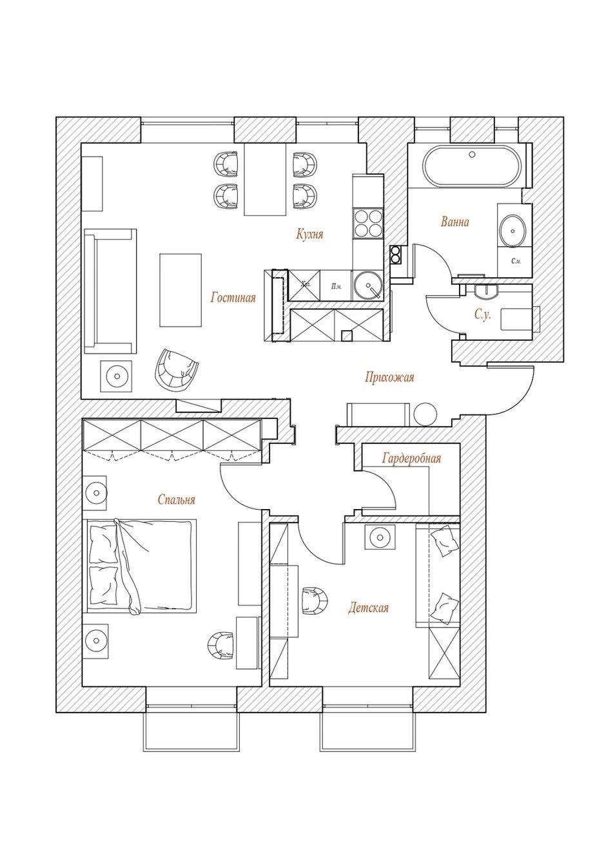 Фотография: Планировки в стиле , Классический, Современный, Квартира, Проект недели, Москва, 3 комнаты, 60-90 метров, Варвара Шабельникова – фото на INMYROOM