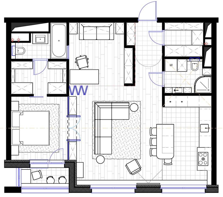 Фотография: Планировки в стиле , Эклектика, Квартира, Проект недели, Москва, ToTaste Studio, 3 комнаты, 60-90 метров – фото на INMYROOM