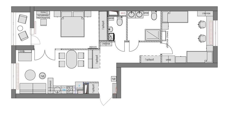 Фотография:  в стиле , Эклектика, Квартира, Проект недели, Москва, 3 комнаты, 60-90 метров, Анастасия Холопцева – фото на INMYROOM