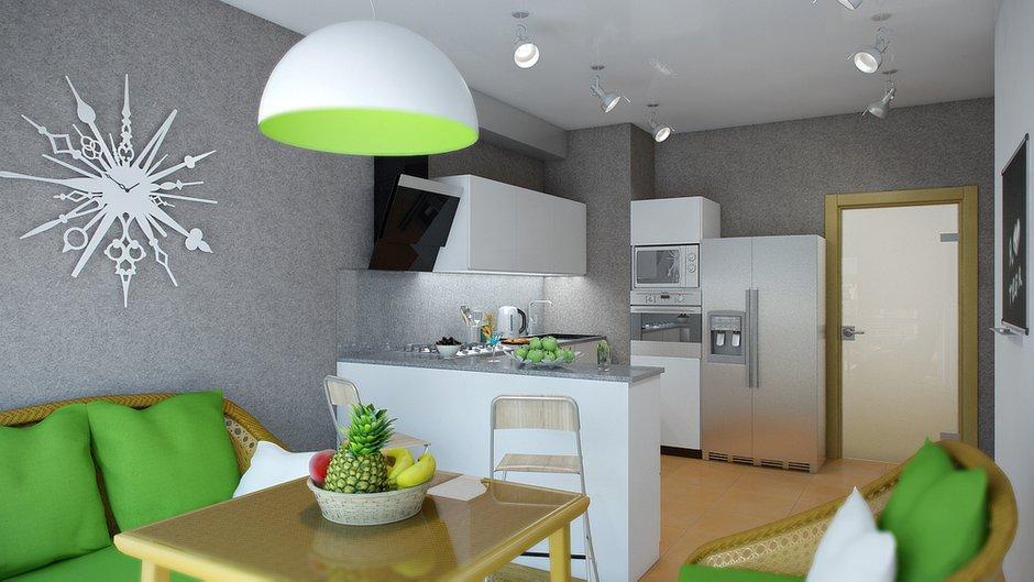 Фотография: Кухня и столовая в стиле Современный, Декор интерьера, Квартира, Цвет в интерьере, Дома и квартиры, Проект недели, Стены – фото на INMYROOM