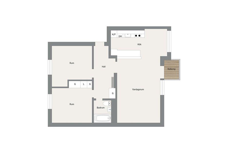 Фотография: Планировки в стиле , Скандинавский, Малогабаритная квартира, Квартира, Франция, Дома и квартиры – фото на INMYROOM