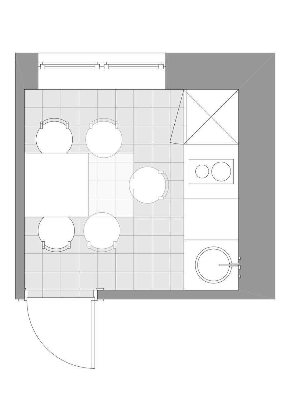 Фотография: Планировки в стиле , Кухня и столовая, Перепланировка, дизайн-гид, Хрущевка, 1 комната, до 40 метров, Flatforfox – фото на INMYROOM