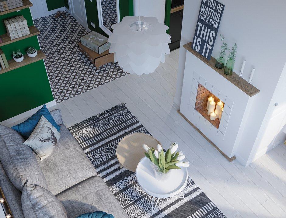 Фотография: Гостиная в стиле Скандинавский, Квартира, Проект недели, Московская область, 1 комната, до 40 метров, Ира Носова – фото на INMYROOM