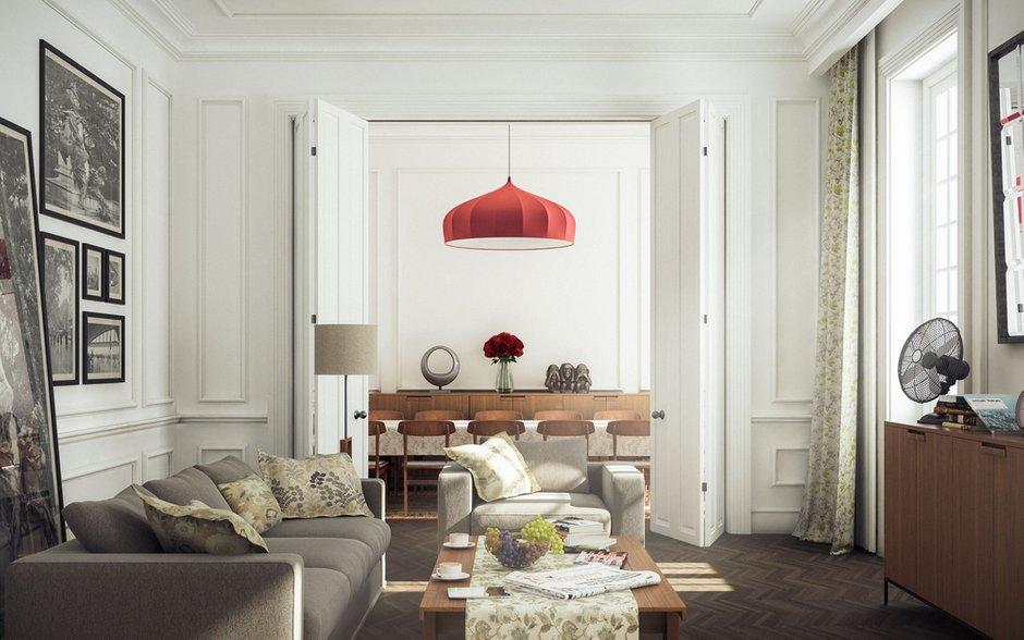 Фотография: Гостиная в стиле Прованс и Кантри, Декор интерьера, Дом, Мебель и свет, Полки, Лепнина – фото на INMYROOM