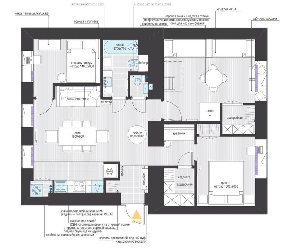 Фотография: Планировки в стиле , Прованс и Кантри, Квартира, Проект недели, Москва, 3 комнаты, 60-90 метров – фото на INMYROOM