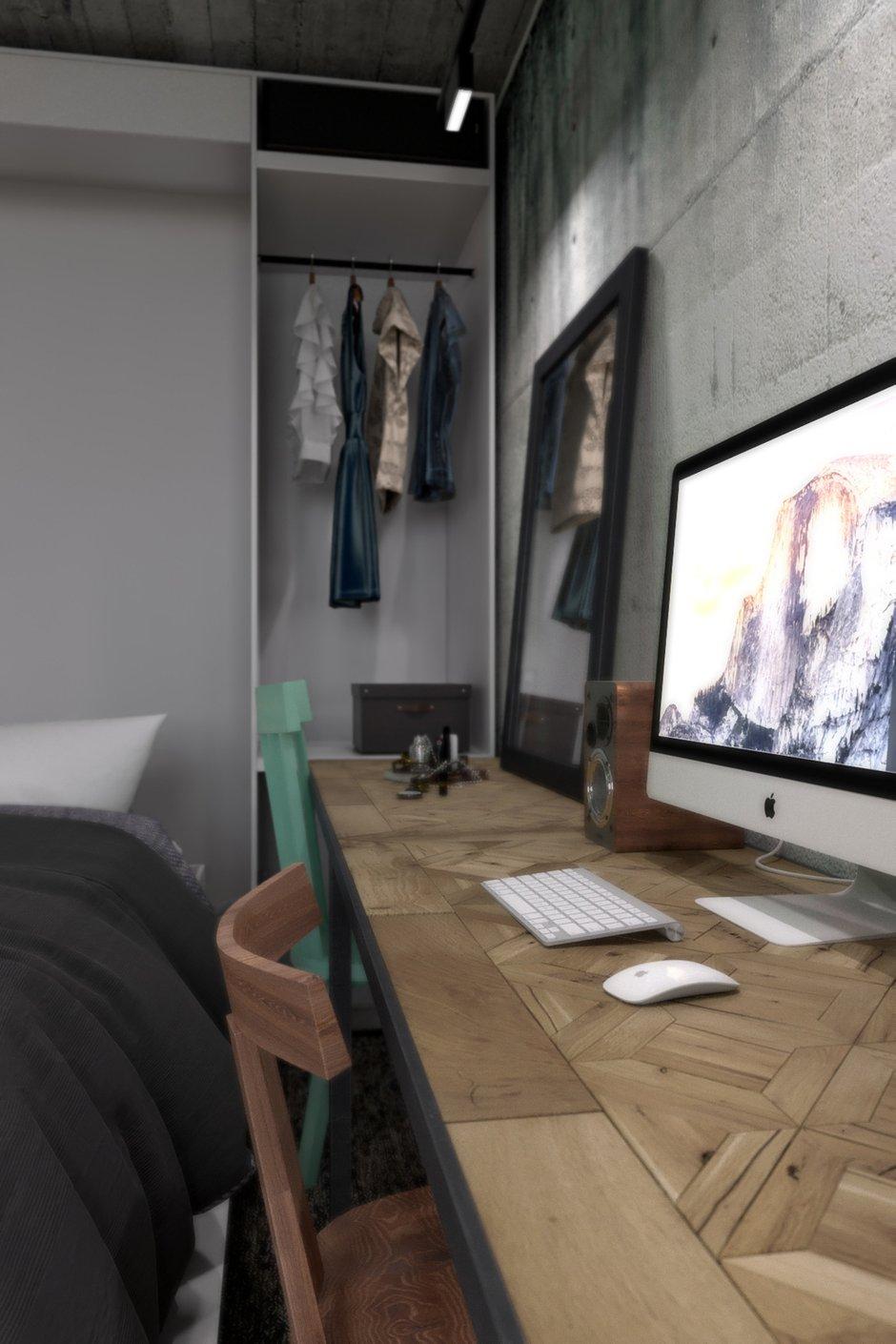 Фотография: Спальня в стиле Лофт, Квартира, Студия, Проект недели, Мебель-трансформер, Новая Москва, новостройка, Роман Плюснин, ЖК «Татьянин Парк» – фото на INMYROOM