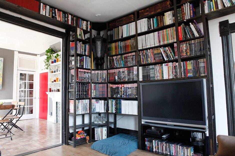 Фотография: Гостиная в стиле , Квартира, США, Дома и квартиры, Библиотека – фото на INMYROOM