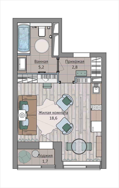 Фотография: Планировки в стиле , Квартира, Студия, Перепланировка, до 40 метров, ЖК «Символ», Донстрой – фото на INMYROOM