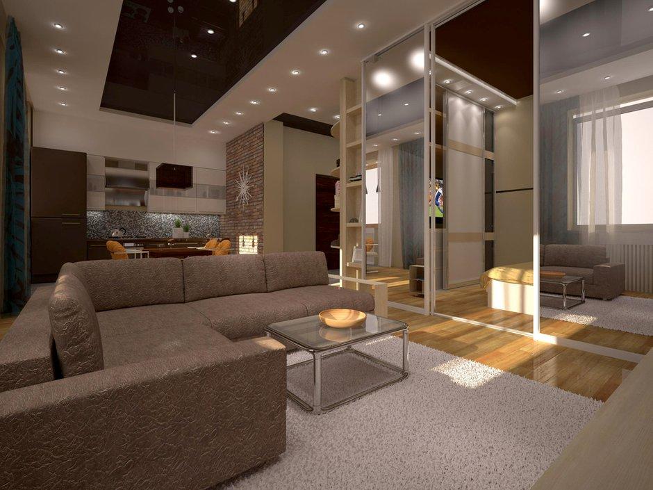 Фотография: Гостиная в стиле , Квартира, Дома и квартиры, Перепланировка, Москва, Стена, Перегородки – фото на INMYROOM