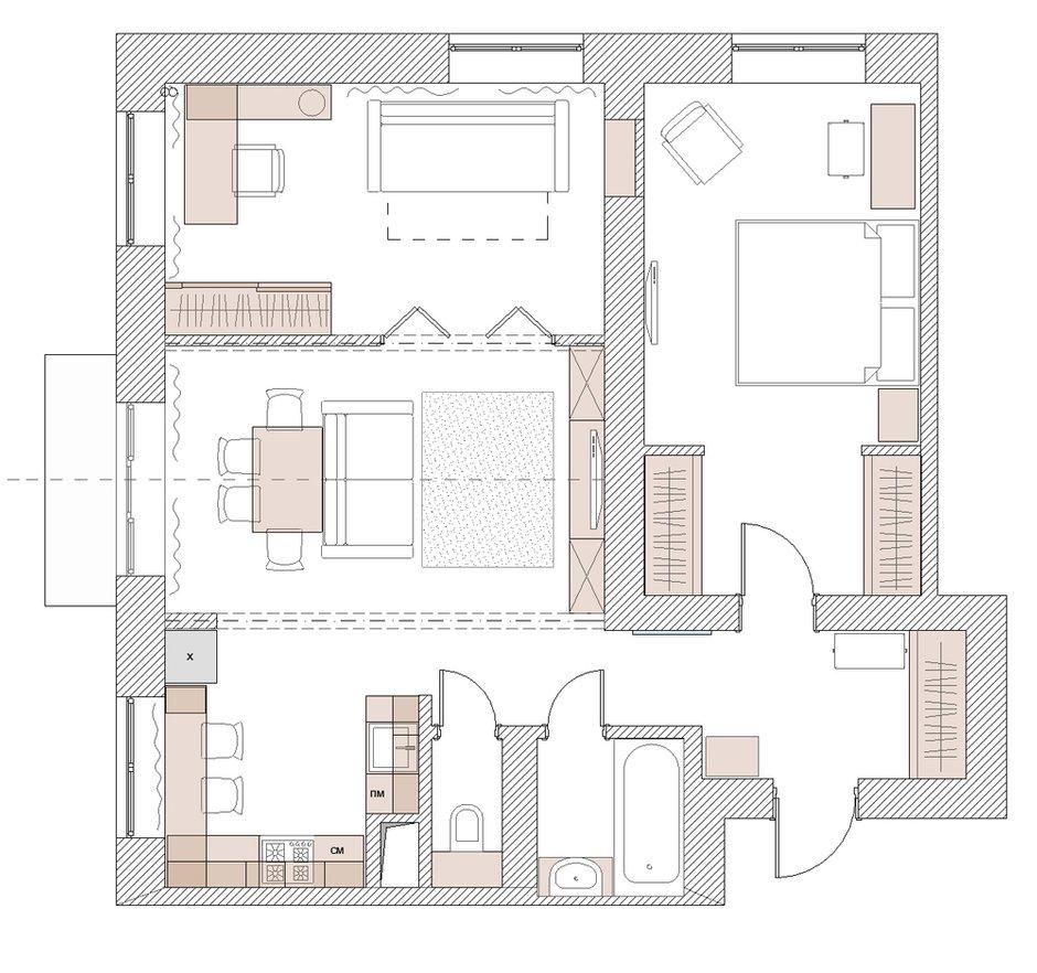 Фотография: Планировки в стиле , Квартира, Проект недели, Евгений Кулибаба, Эльвира Станкевич, Сталинка, трешка, 3 комнаты, 60-90 метров – фото на INMYROOM