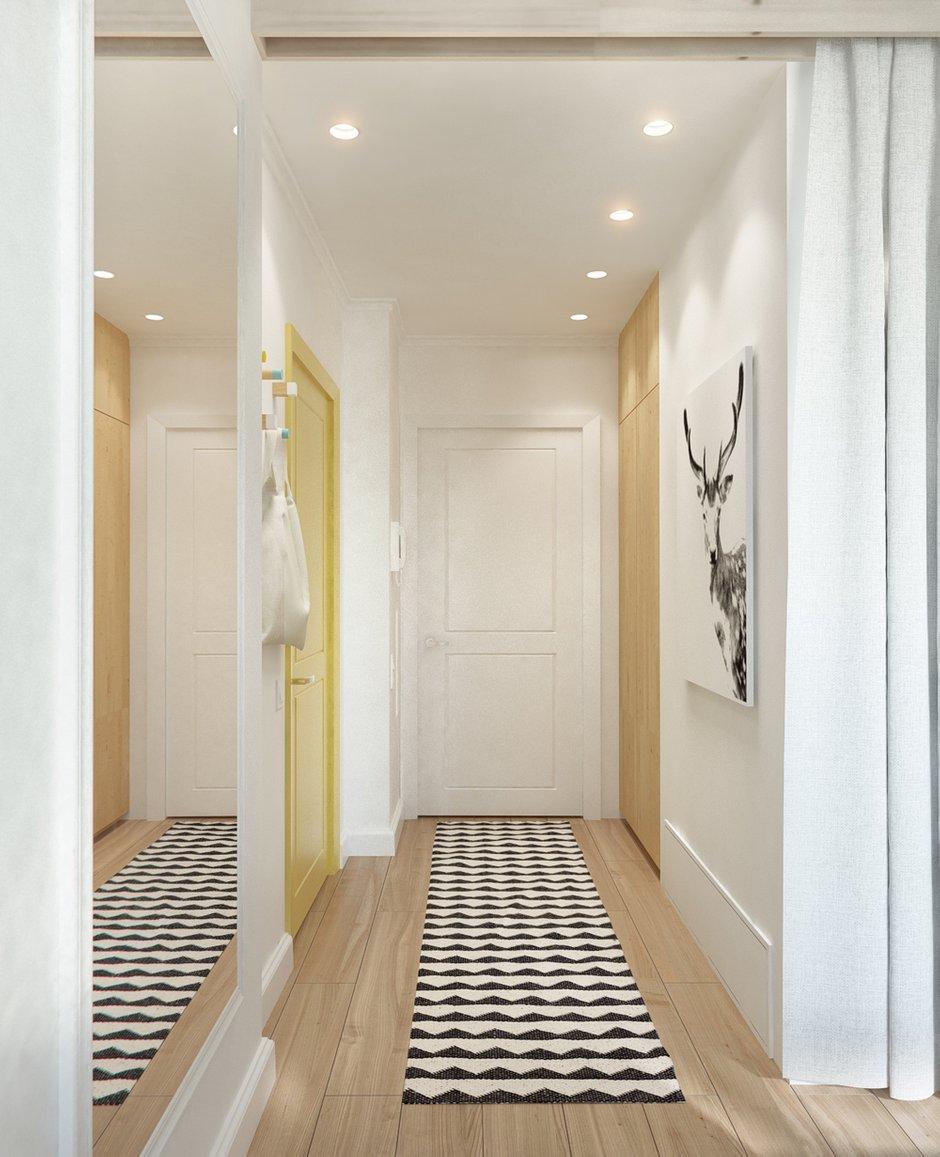 Фотография: Прихожая в стиле Скандинавский, Эклектика, Малогабаритная квартира, Квартира, Планировки, Мебель и свет – фото на INMYROOM