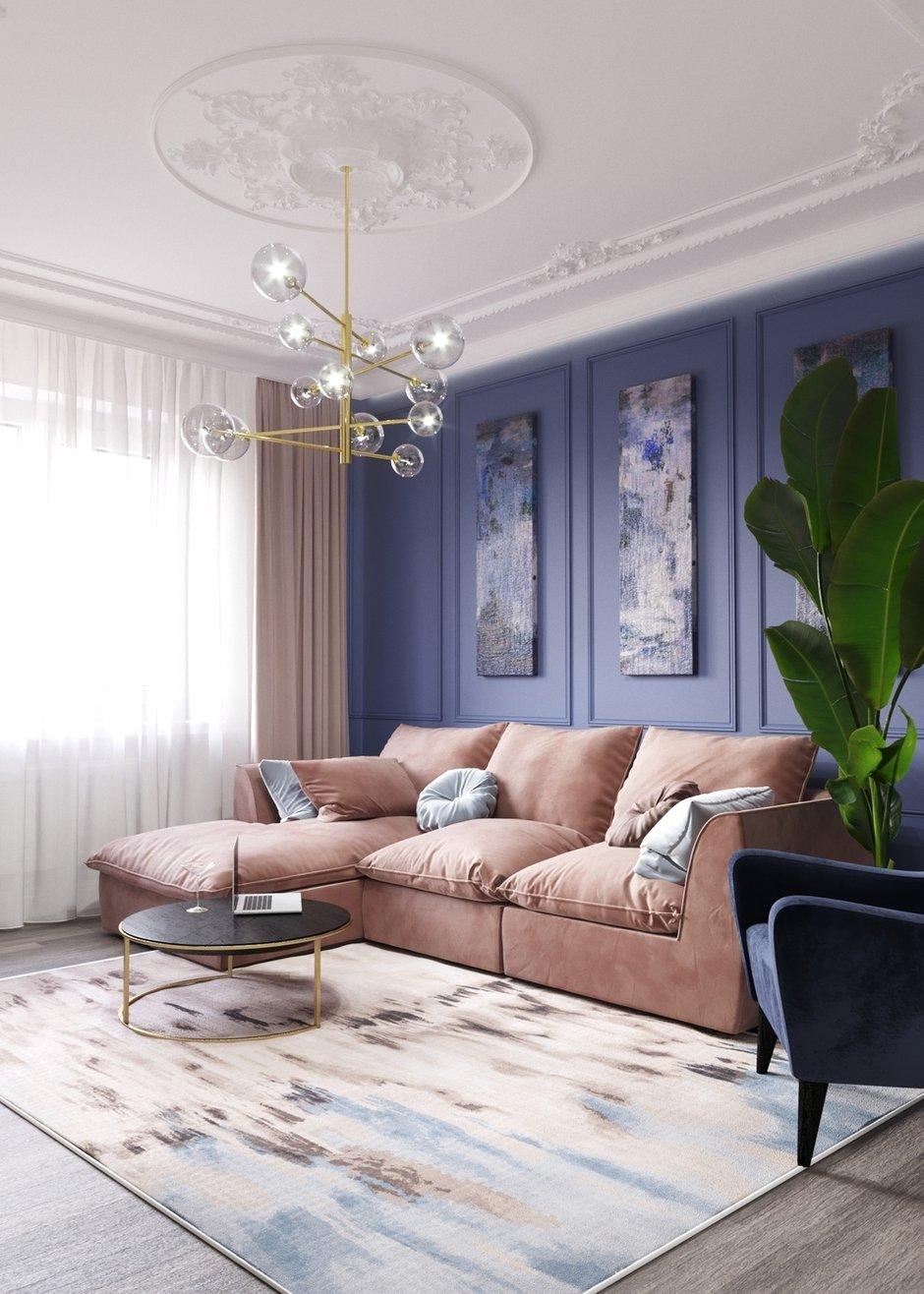 Фотография: Гостиная в стиле Современный, Кухня и столовая, Классический, Квартира, Планировки, Декор, Проект недели, Синий, Серый, Розовый, Голубой, 2 комнаты, 40-60 метров – фото на INMYROOM