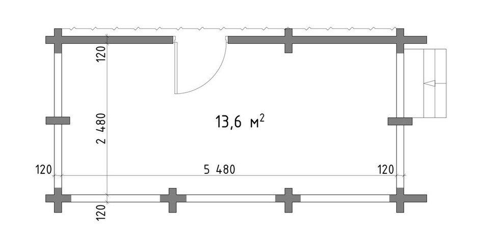 Обмерный план дачной террасы площадью 13,6 кв. м в доме на первом этаже