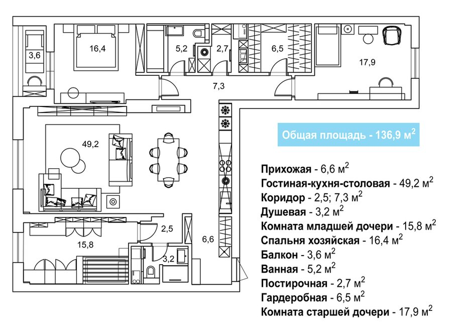 Фотография: Планировки в стиле , Современный, Квартира, Проект недели, Москва, 4 и больше, Более 90 метров – фото на INMYROOM