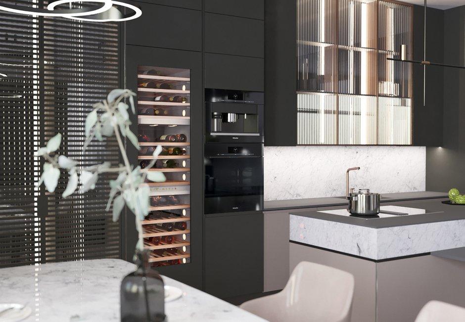 Фотография: Кухня и столовая в стиле Современный, Квартира, Miele, Проект недели, Москва, Quadro room, 4 и больше, Более 90 метров – фото на INMYROOM