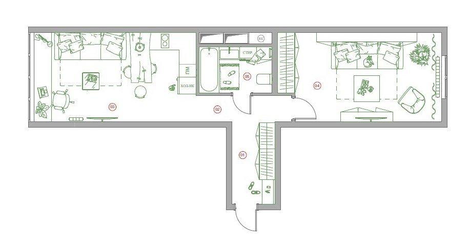 Фотография: Планировки в стиле , Лофт, Эклектика, Квартира, Проект недели, Москва, 1 комната, 40-60 метров, студия «Особинка», Ксения Розанцева – фото на INMYROOM