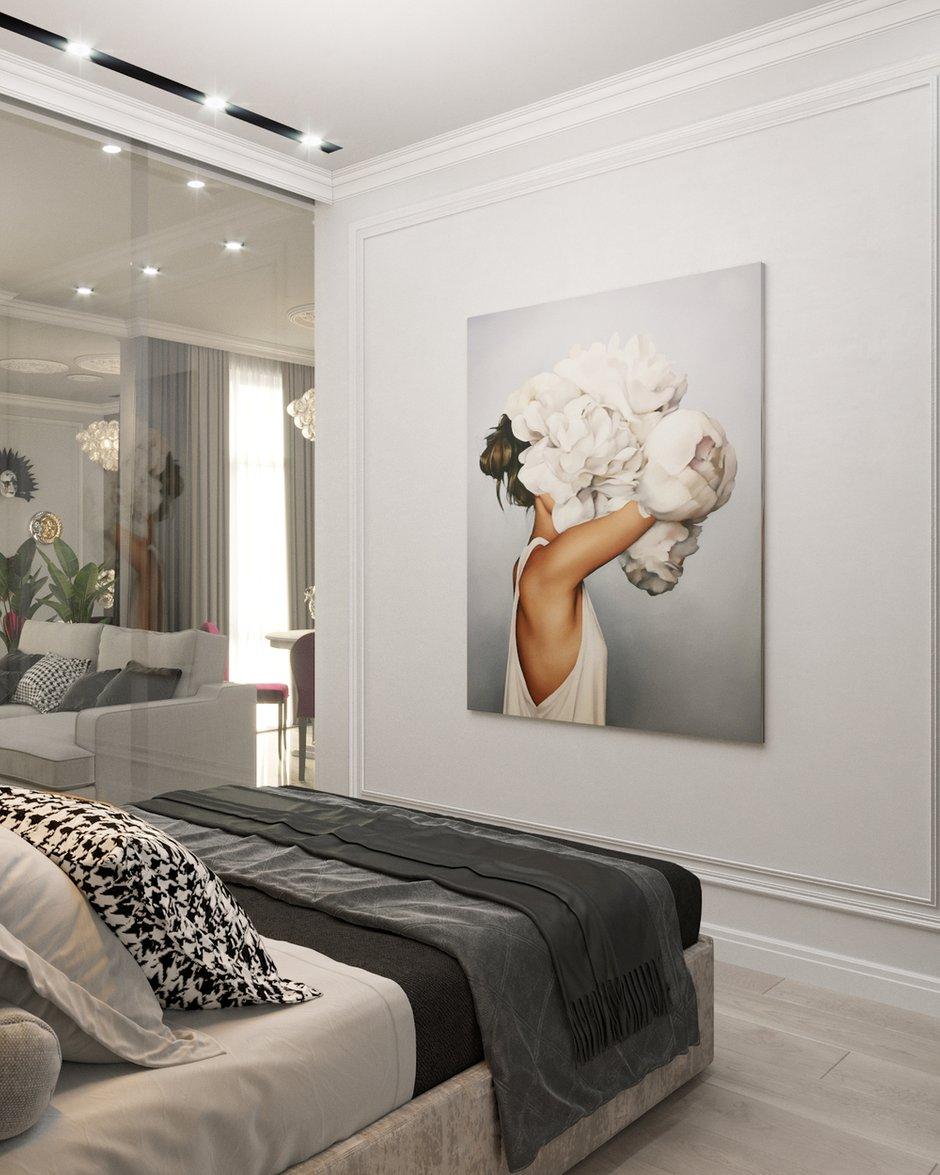 Фотография: Спальня в стиле Современный, Классический, Квартира, Проект недели, Москва, 1 комната, 40-60 метров, Александра Гартке – фото на INMYROOM