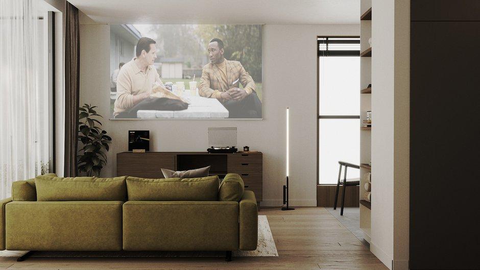 Вместо телевизора разместили выдвижной экран и предусмотрели проектор.