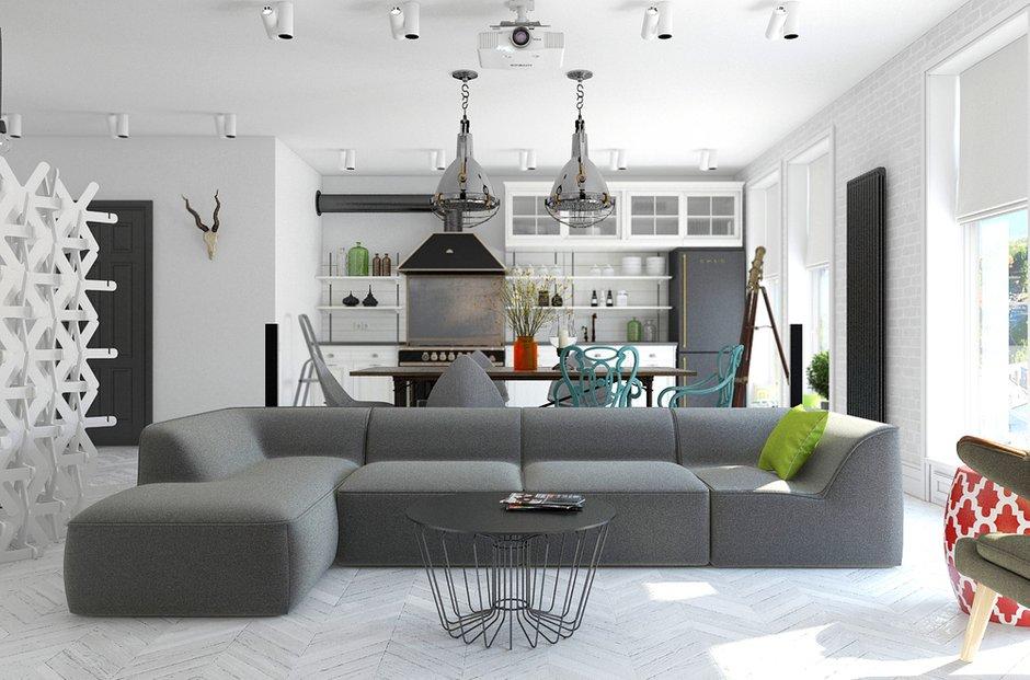 Фотография: Гостиная в стиле Лофт, Декор интерьера, Квартира, BoConcept, Eichholtz, Дома и квартиры, IKEA, Проект недели – фото на InMyRoom.ru