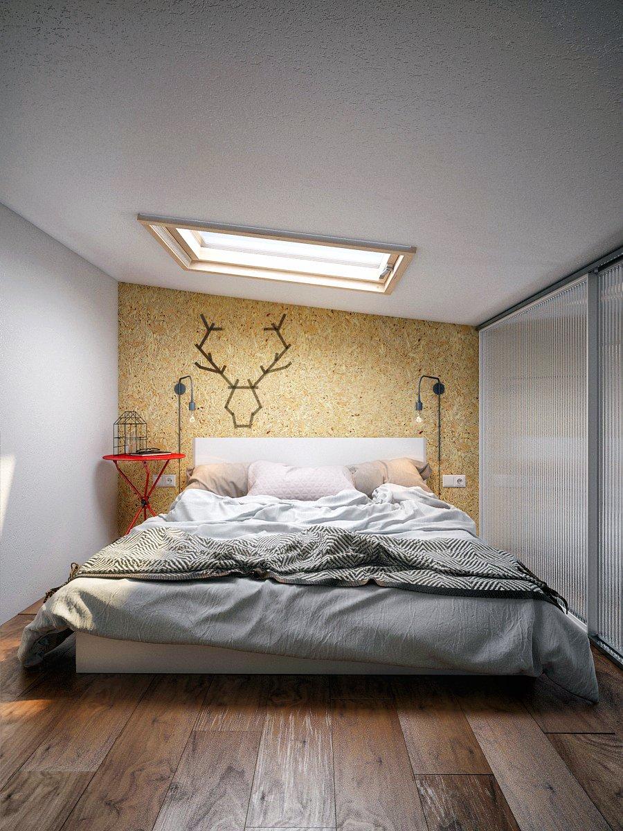 Фотография: Спальня в стиле Скандинавский, Квартира, Студия, Проект недели, Мансарда, Сочи, Кирпичный дом, Мария Панченко, 40-60 метров – фото на INMYROOM