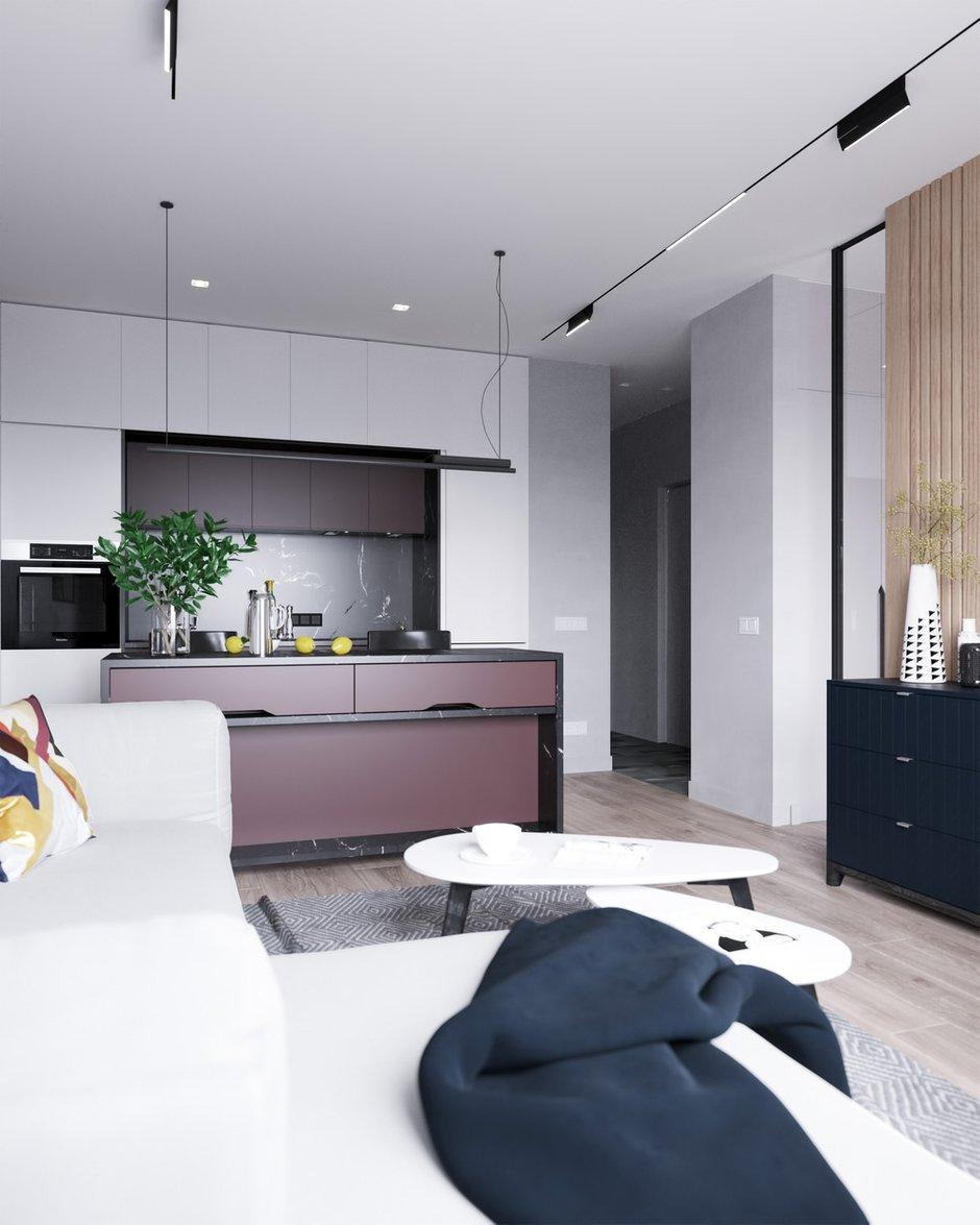 В отделке прихожей и кухни-гостиной используется краска Little Greene светлого оттенка, выступающая фоном для цветовых акцентов.