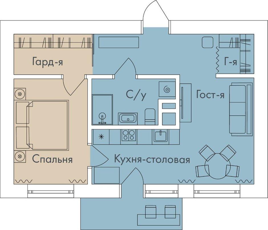 Фотография:  в стиле , Современный, Квартира, Проект недели, Санкт-Петербург, Ульяна Скапцова, 2 комнаты, 40-60 метров – фото на INMYROOM