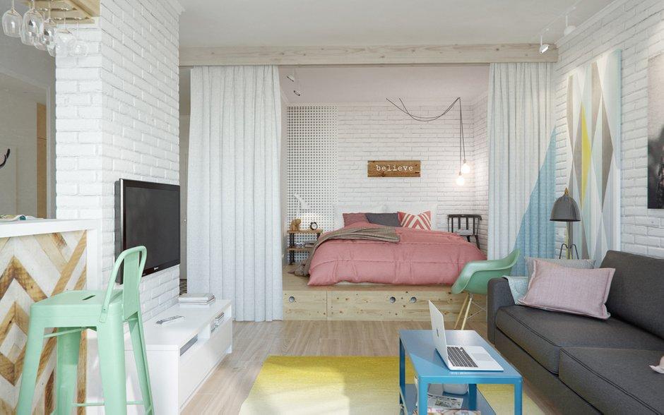 Фотография: Гостиная в стиле Скандинавский, Эклектика, Малогабаритная квартира, Квартира, Планировки, Мебель и свет – фото на INMYROOM