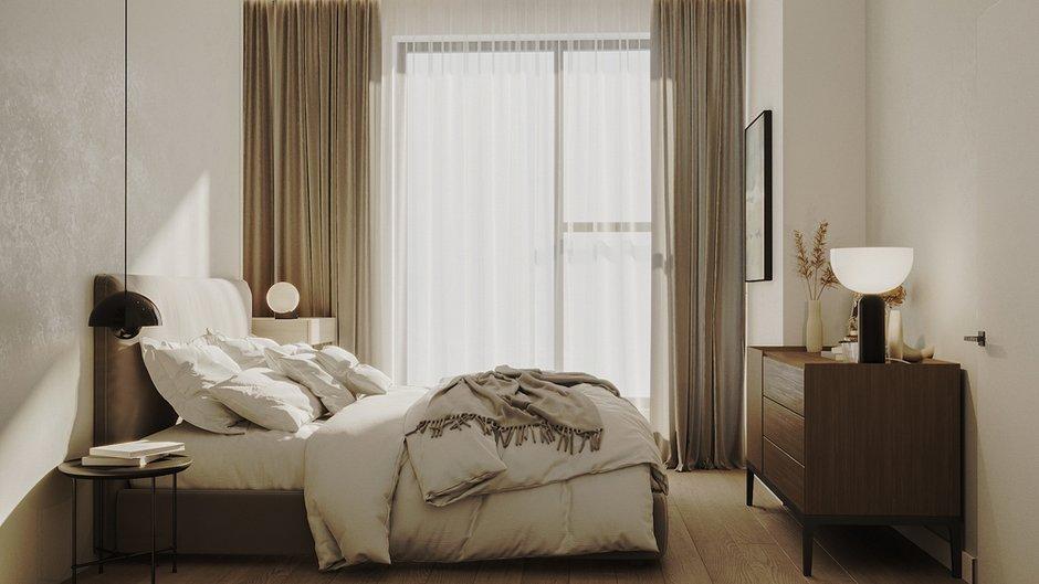 Спальня получилась лаконичной, здесь нет ничего лишнего.