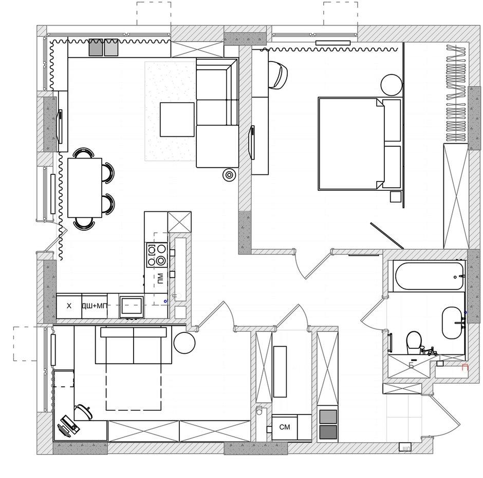 Фотография: Планировки в стиле , Квартира, Проект недели, Киев, 3 комнаты, 60-90 метров, Монолитно-кирпичный, Руслан Ковальчук, Artpartner, ЖК «Французский квартал» – фото на INMYROOM