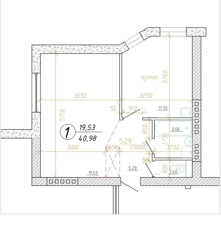 Фотография: Планировки в стиле , Квартира, Перепланировка, Минск, 1 комната, 40-60 метров, Наталья Голубович – фото на INMYROOM