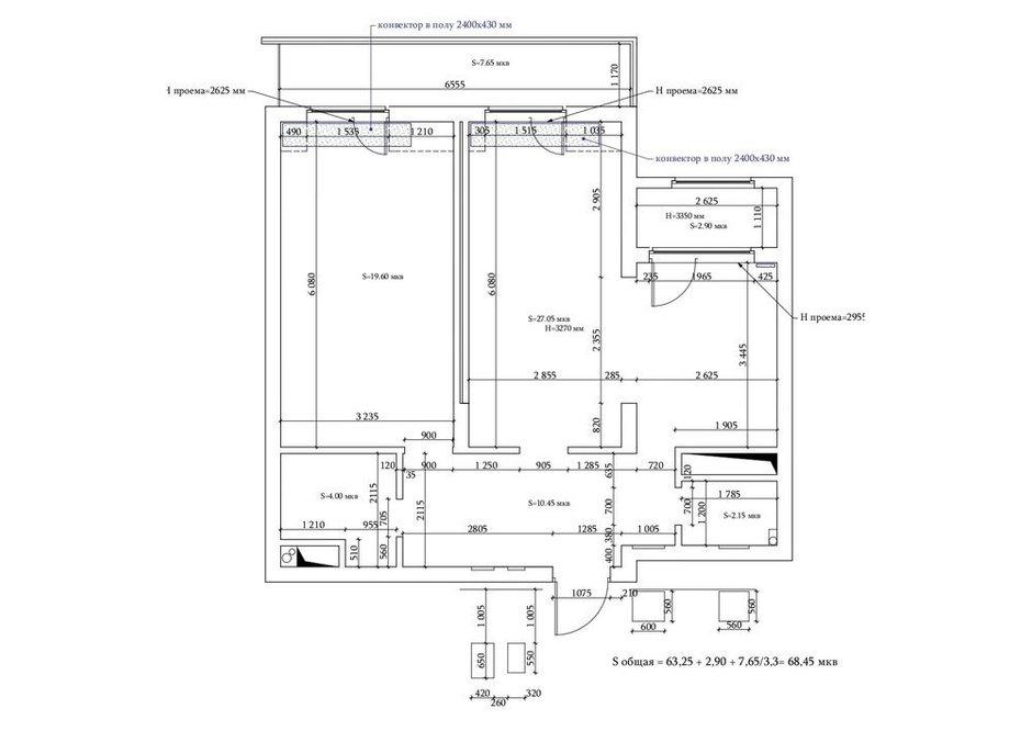 Фотография:  в стиле , Перепланировка, 2 комнаты, 60-90 метров, Инна Азорская – фото на INMYROOM