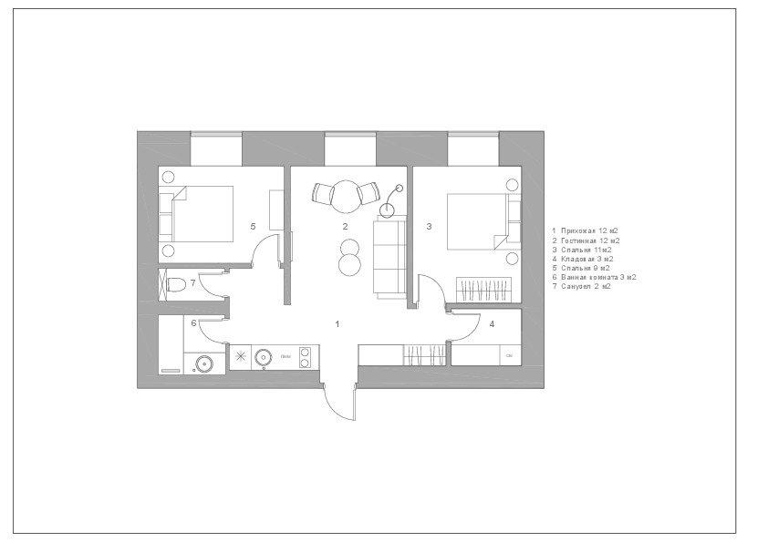Фотография: Планировки в стиле , Квартира, Проект недели, Сталинка, 3 комнаты, 40-60 метров, Москав, Светлана Хабеева – фото на INMYROOM