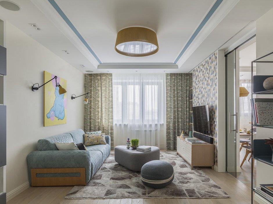 Фотография: Гостиная в стиле Современный, Квартира, Проект недели, Москва, 2 комнаты, 60-90 метров, Виктория Скоробогатько – фото на INMYROOM