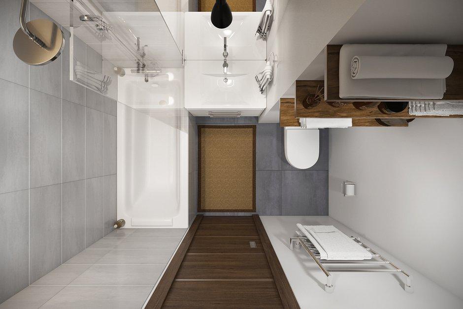 Фотография: Ванная в стиле Современный, Квартира, Проект недели, Москва, Желтый, Серый, Инна Усубян, Как создать интерьер для пары, как оформить студию для пары, дизайн квартиры для пары – фото на INMYROOM