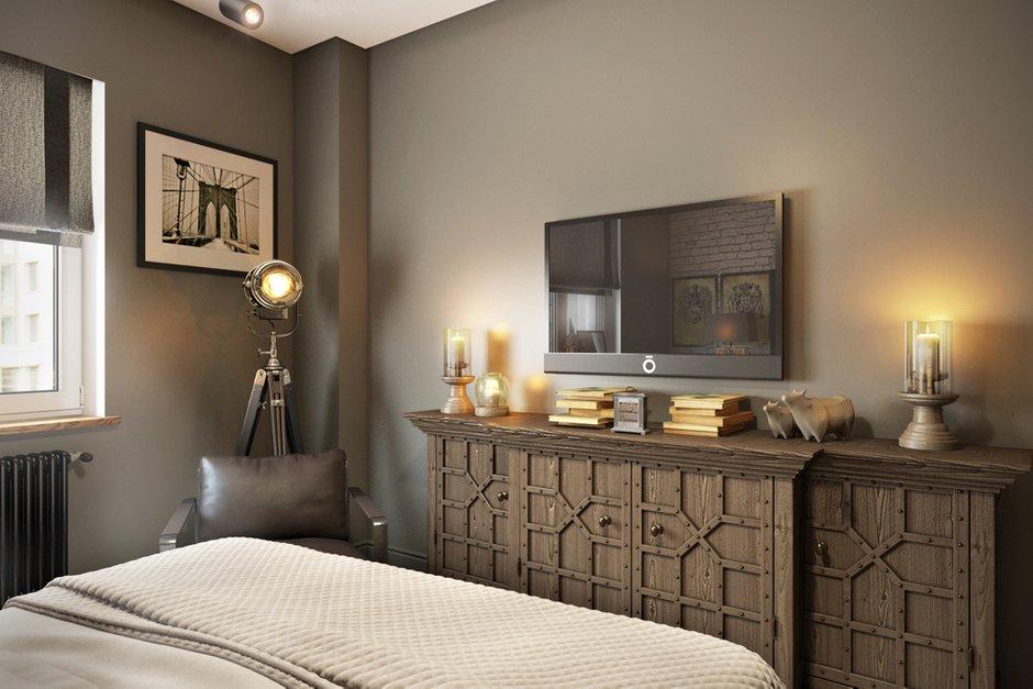 Фотография: Спальня в стиле Лофт, Квартира, Проект недели, Москва, Диана Мальцева, новостройка, Монолитный дом, 2 комнаты, 60-90 метров – фото на INMYROOM