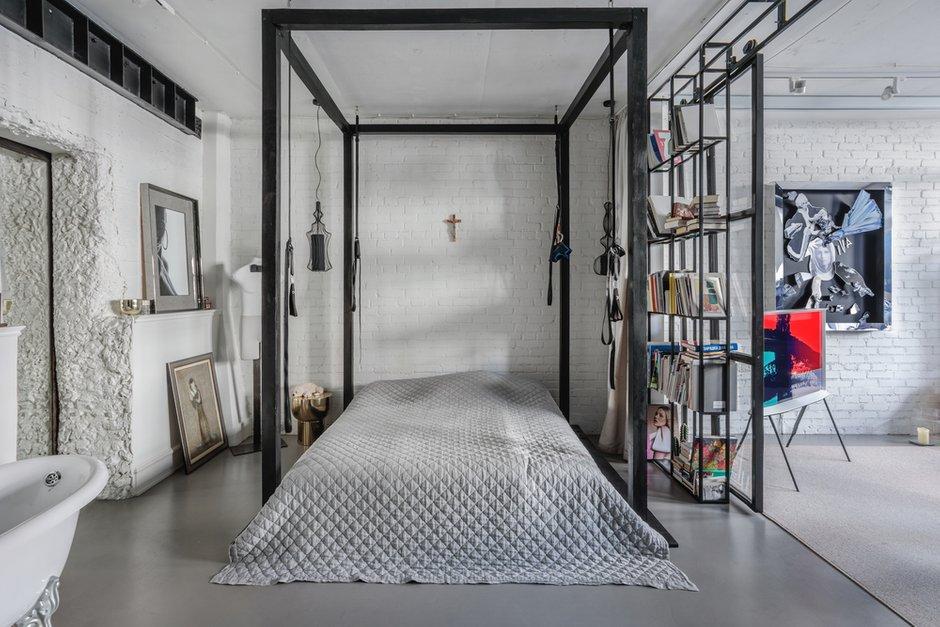 Фотография: Спальня в стиле Лофт, Квартира, Проект недели, Москва, 3 комнаты, 60-90 метров, Мария Полянская – фото на INMYROOM