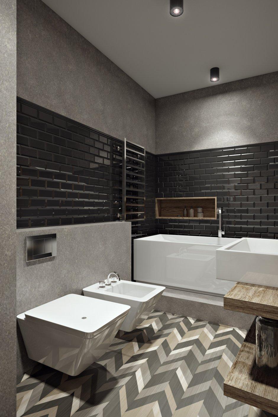 Фотография: Ванная в стиле Лофт, Квартира, Проект недели, Москва, Диана Мальцева, новостройка, Монолитный дом, 2 комнаты, 60-90 метров – фото на INMYROOM