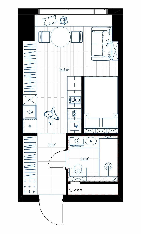 Фотография: Планировки в стиле , Современный, Малогабаритная квартира, Квартира, Студия, Проект недели, Москва, до 40 метров, Оксана Дьяпич, Реноме – фото на INMYROOM