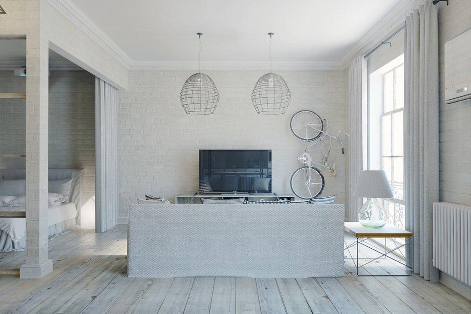 Фотография: Гостиная в стиле Лофт, Квартира, Цвет в интерьере, Дома и квартиры, Белый – фото на INMYROOM